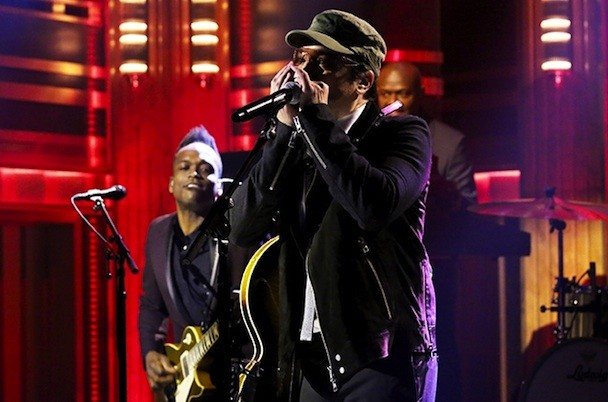 """Watch Jimmy Fallon Impersonate Bono, Play """"Desire"""" With The Roots In U2's Absence"""