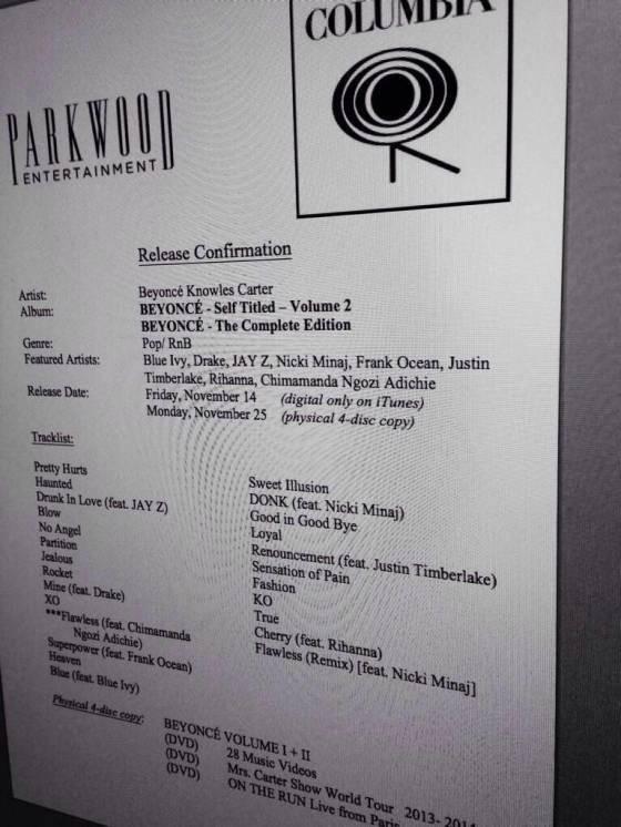 Rumored Beyoncé tracklist