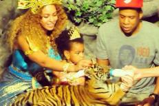 Beyoncé, Blue Ivy, Jay Z, and a tiger