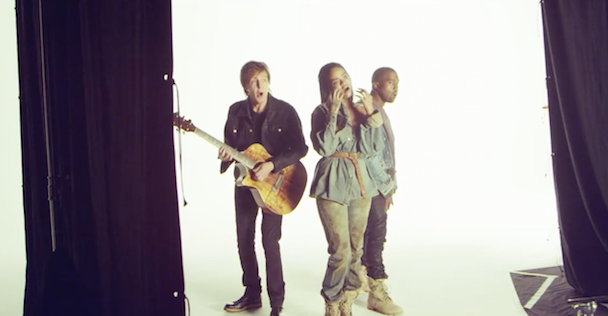 "Watch Rihanna, Kanye, and Paul McCartney In Behind The Scenes Footage Of The ""FourFiveSeconds"" Video Shoot"
