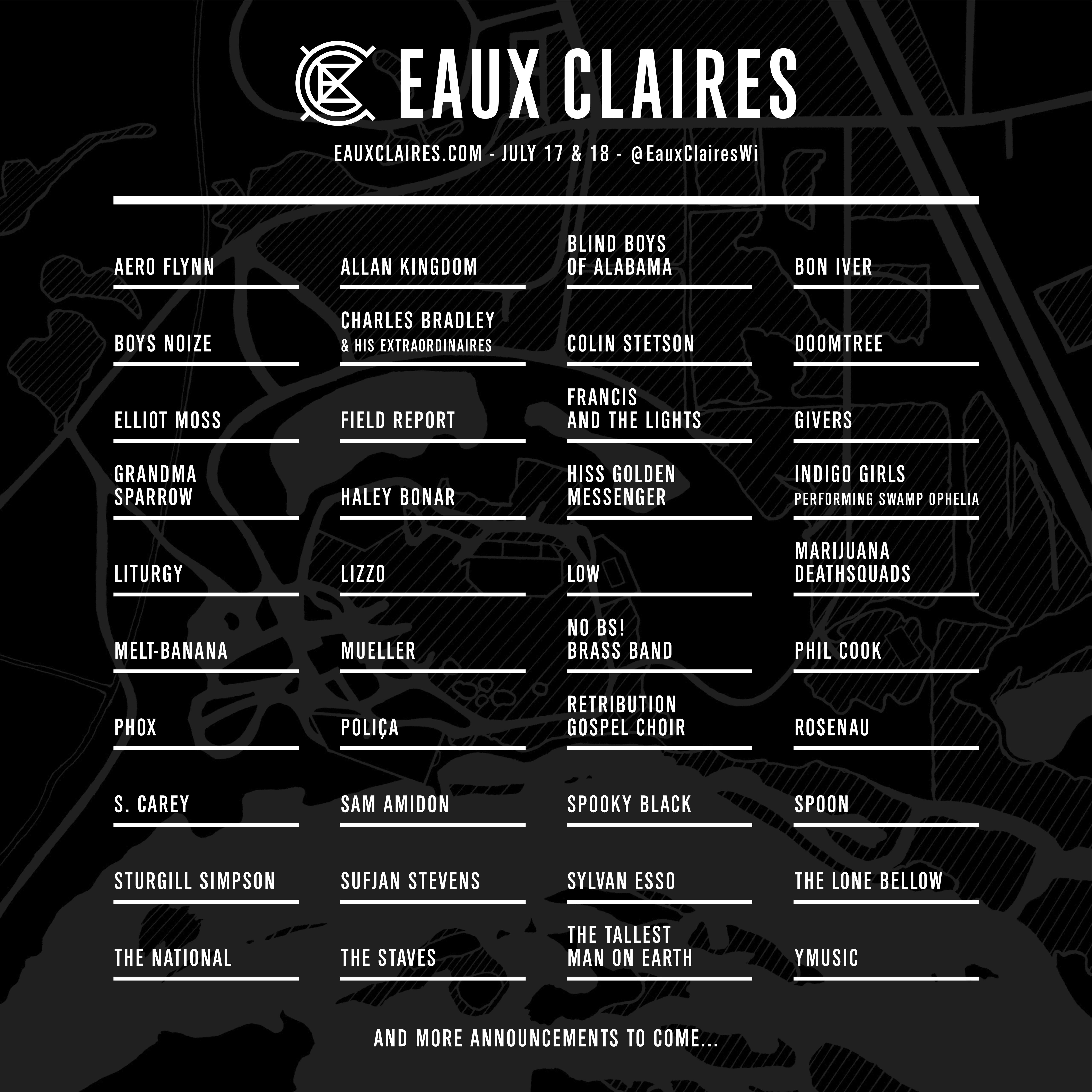 Justin Vernon's Eaux Claires Festival Reveals Full Lineup Feat. Bon Iver, Sufjan Stevens, The National, Spoon