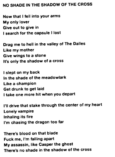 """No Shade In The Shadow Of The Cross"" lyrics"