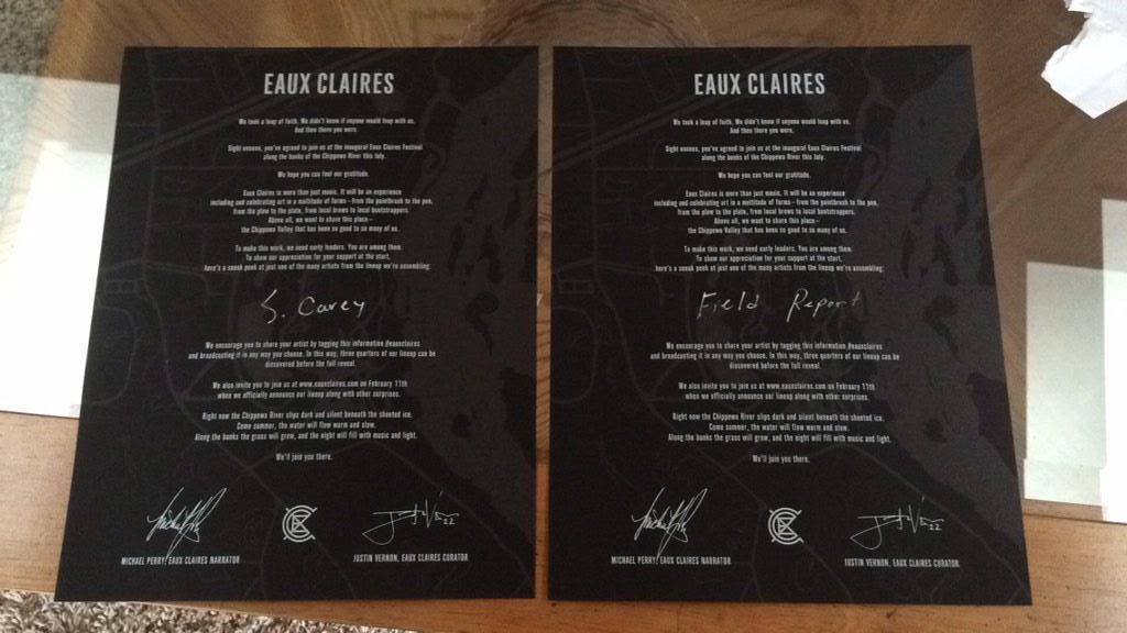 Bon Iver's Eaux Claires Fest Announces Lineup Via Letters To Early Ticket Holders