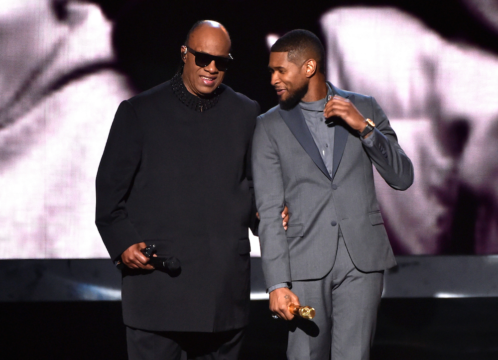 Usher with Stevie Wonder