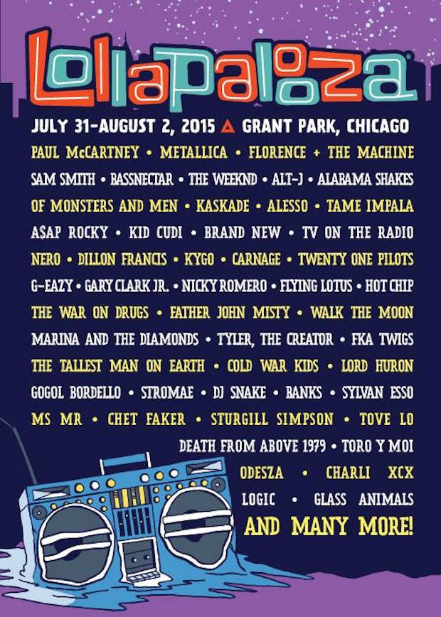 Lollapalooza 2015 Lineup Stereogum