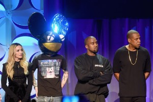 Madonna, Deadmau5, Kanye West, and Jay Z onstage at the Tidal launch event