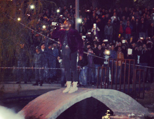Watch Kanye West Play A Surprise Concert And Jump Into A Lake In Armenia