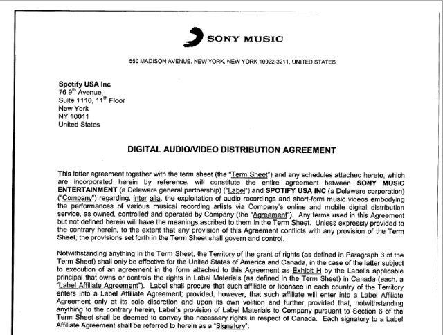 Leaked spotify contract reveals sony s streaming rates for Record label contracts templates