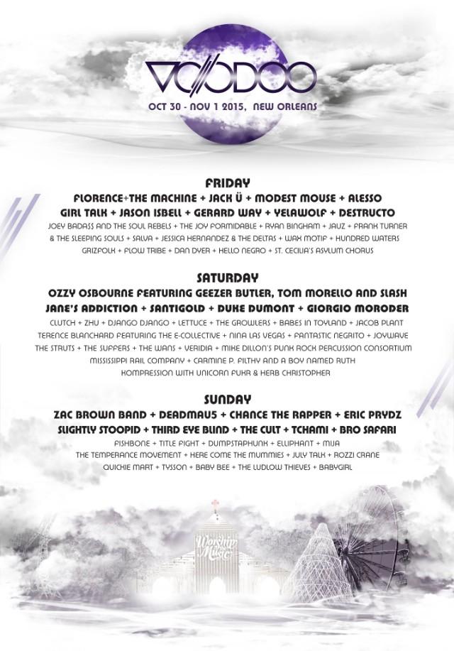 Voodoo Fest Lineup 2015