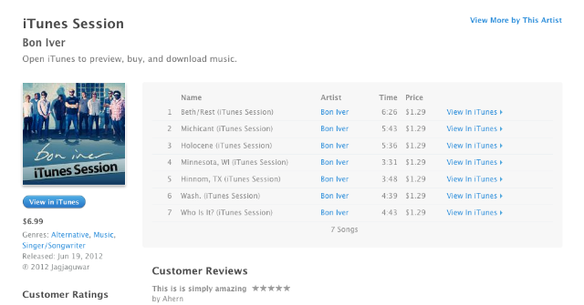 Justin Vernon Apple Music Spotify