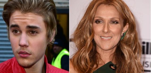 Justin Bieber and Celine Dion