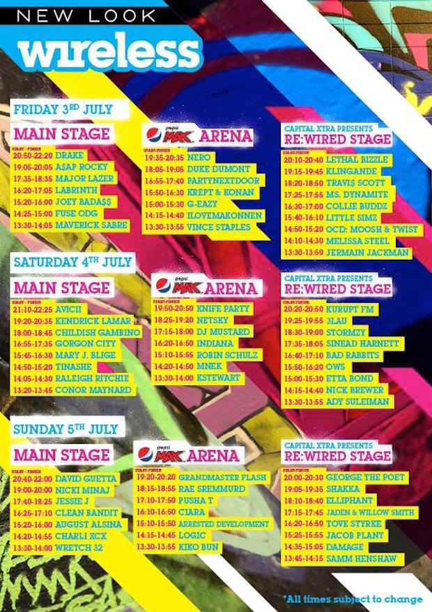 Wireless Festival Schedule