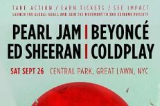 Beyoncé, Pearl Jam, Coldplay Headlining 2015 Global Citizen Fest