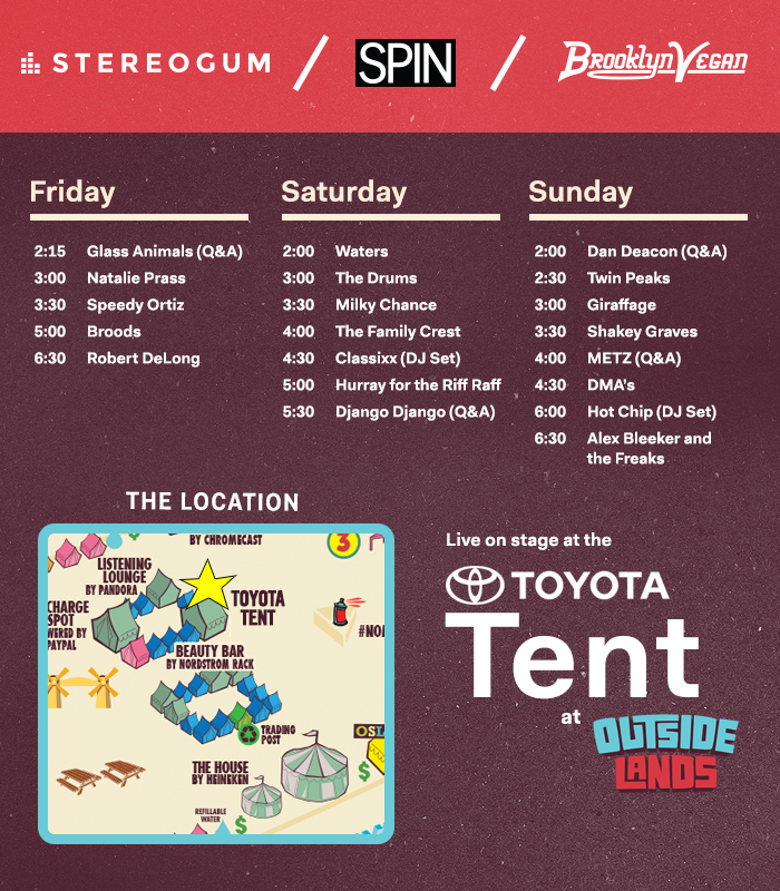 Stereogum At Outside Lands 2015: Toyota Tent Schedule