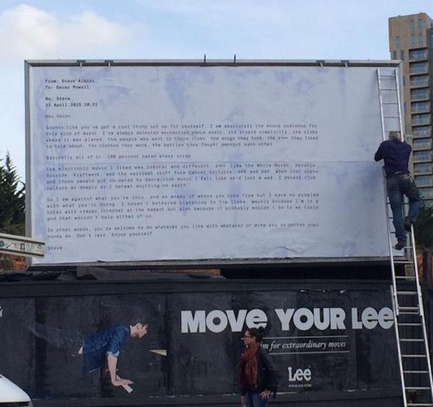 Powell Mocks Steve Albini By Making His Anti-EDM Email Into A Billboard