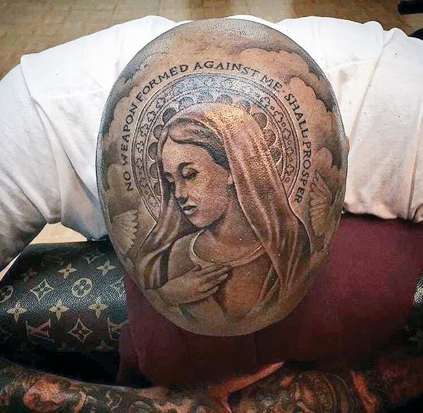 Ygs New Virgin Mary Tattoo Covers His Entire Head Stereogum