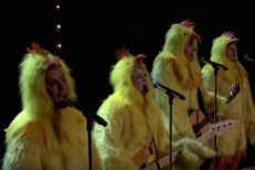 Alanis Morrisette dressed as a chicken