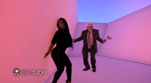 "Watch Bernie Sanders Step Into The ""Hotline Bling"" Video On Ellen"