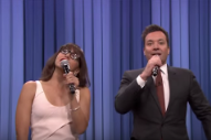 Watch Jimmy Fallon & Rashida Jones Sing Holiday Versions Of The Year's Pop Hits