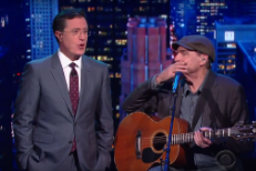 "Watch James Taylor & Stephen Colbert Sing ""Fire And Rain And Calzones"""