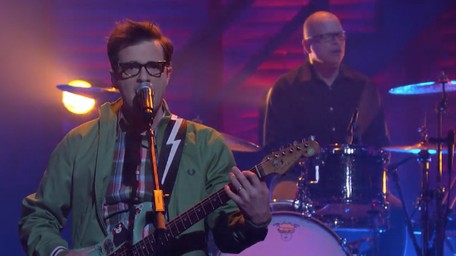 """Watch Weezer Perform """"Thank God For Girls"""" On Conan"""