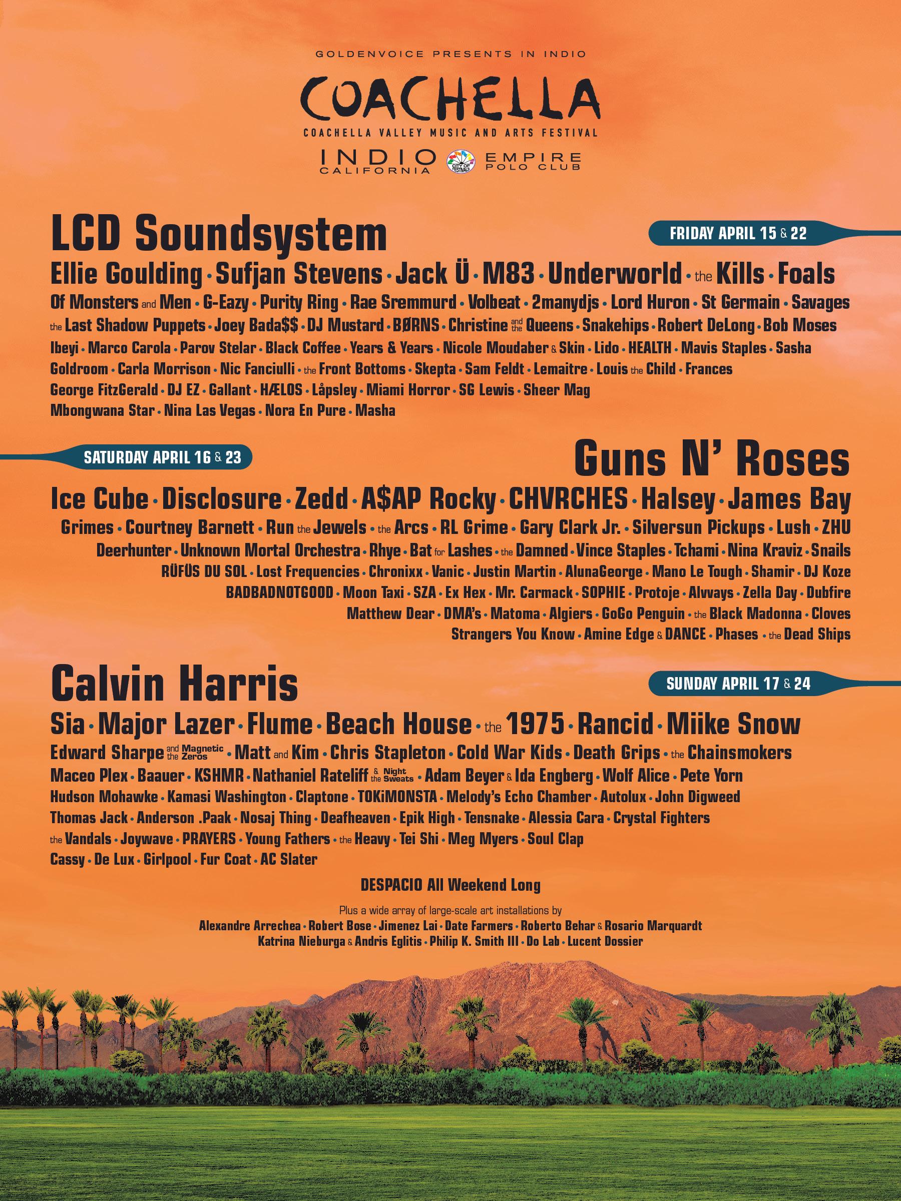 Coachella Lineup 2016 Poster