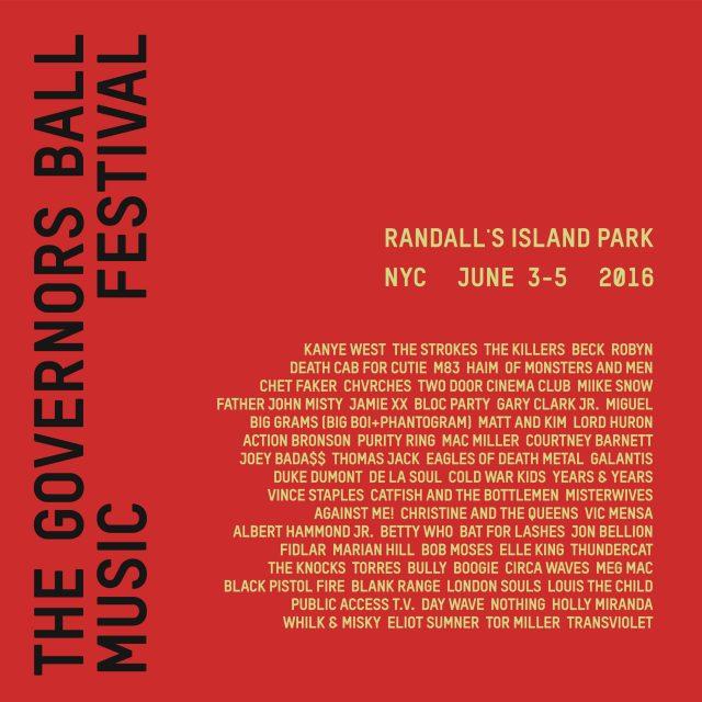 Governors Ball 2016 Lineup