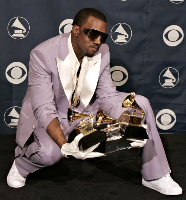 Kanye West with Grammys