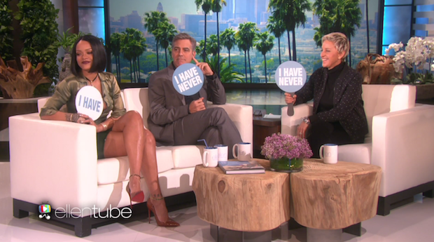 """Watch Rihanna And George Clooney Play """"Never Have I Ever"""" With Ellen"""
