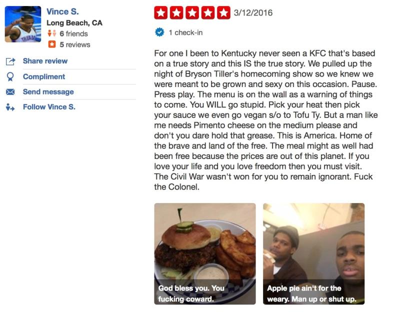 Vince Staples On Yelp