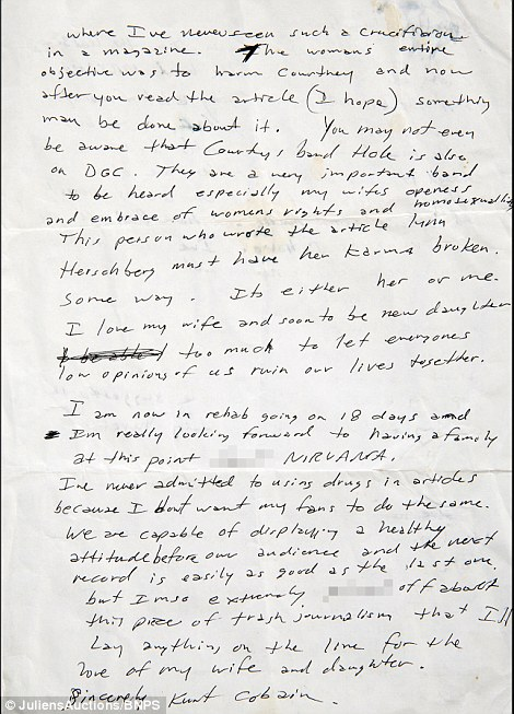 Angry Letter From Kurt Cobain To David Geffen Going Up For