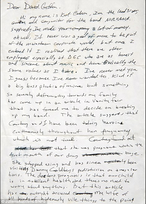 Angry Letter From Kurt Cobain To David Geffen Going Up For Auction