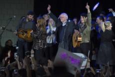 Ezra Koenig at Bernie Sanders rally