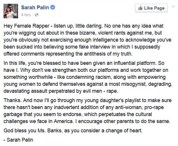 Palin response