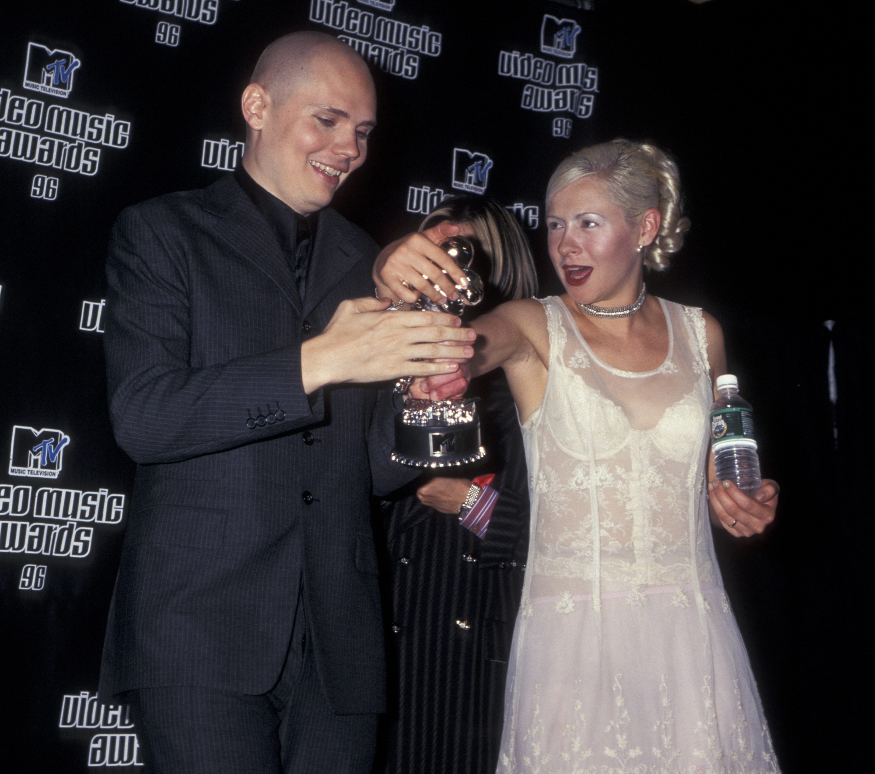 Musicians Billy Corgan, D'arcy Wretzky and James Iha attending 13th Annual MTV Video Music Awards on September 4, 1996 at Radio City Music Hall in New York City, New York. (Photo by Ron Galella, Ltd./WireImage)