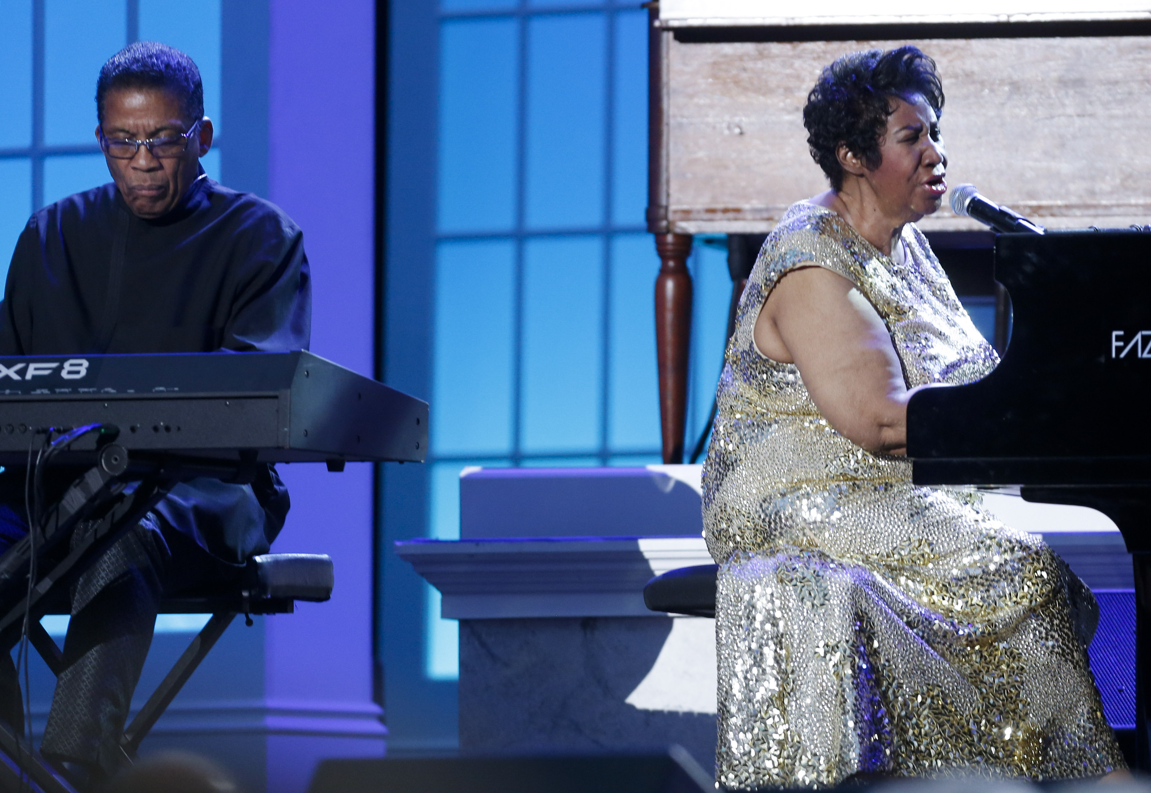 WASHINGTON, DC - APRIL 29: Aretha Franklin and Herbie Hancock perform at the International Jazz Day Concert on the South Lawn of the White House on April 29, 2016 in Washington, DC. The event was presented by actor Morgan Freeman and included remarks by President Obama. (Photo by Aude Guerrucci-Pool/Getty Images)