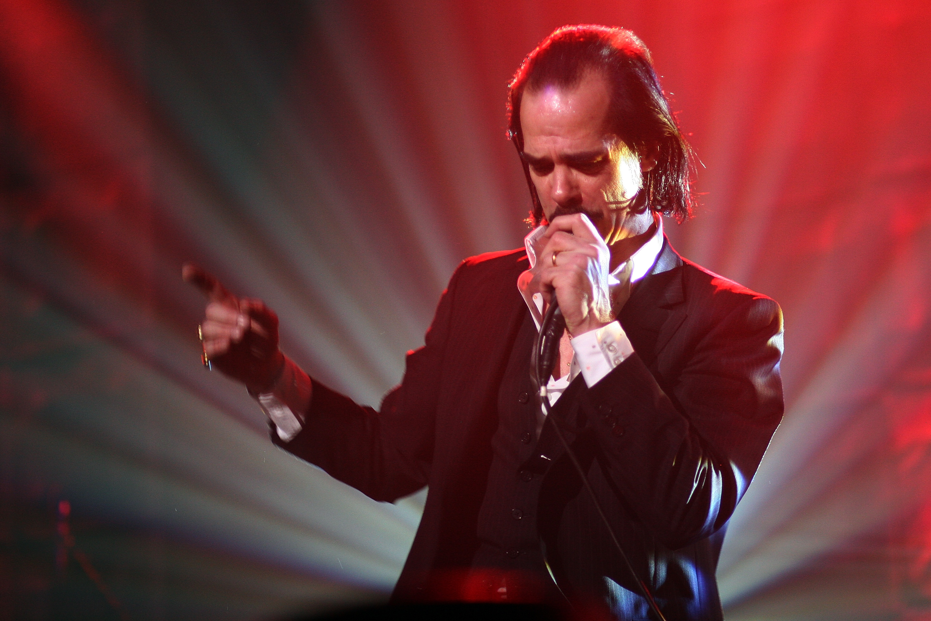 NEW YORK - MARCH 06: Musician Nick Cave and the Bad Seeds perform onstage at the 2008 PLUG Independent Music Awards at Terminal 5 on March 6, 2008 in New York City. (Photo by Roger Kisby/Getty Images)