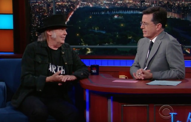 Neil Young and Stephen Colbert