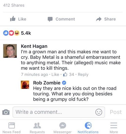 Rob Zombie defends Babymetal
