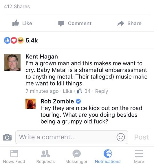 Rob Zombie defends Babymetal