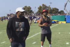 Watch Kendrick Lamar Catch A Pass From Schoolboy Q At LA Rams Training Camp