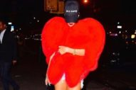Rihanna Dressed Up Like A Giant Fur Heart And Fed Pigeons In NYC