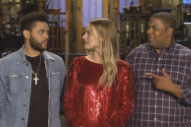 Watch Margot Robbie Joke About The Weeknd&#8217;s New Hairstyle In Their <em>SNL</em> Promo