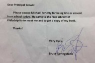 Bruce Springsteen Signs Fifth Grader's Absence Note