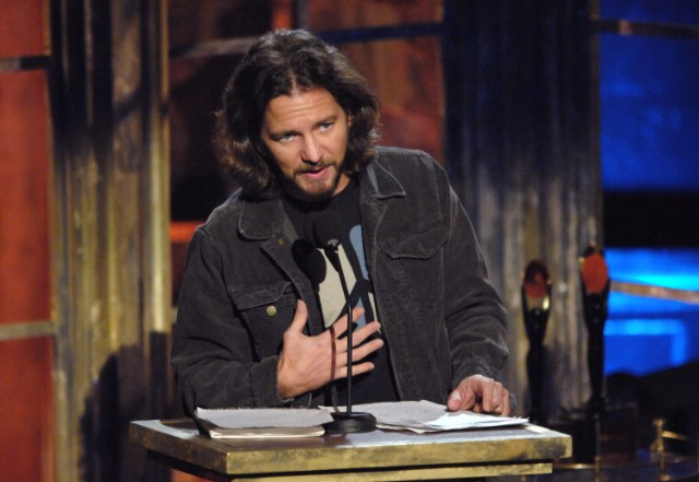 Eddie Vedder At The 22nd Annual Rock and Roll Hall of Fame Induction Ceremony