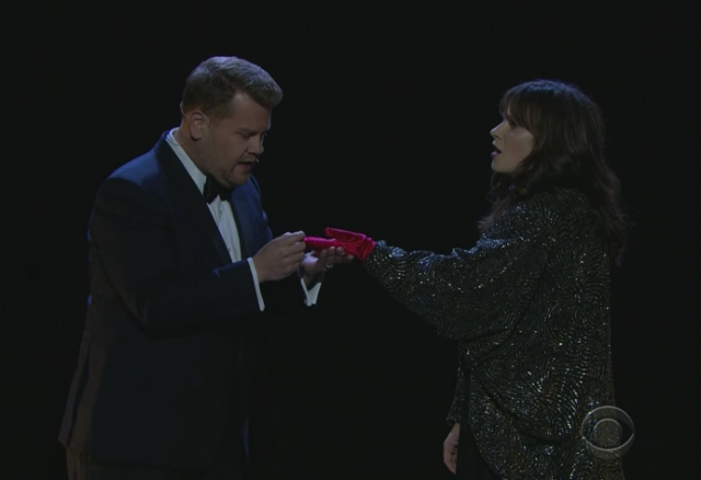 James Corden And Zooey Deschanel Covered