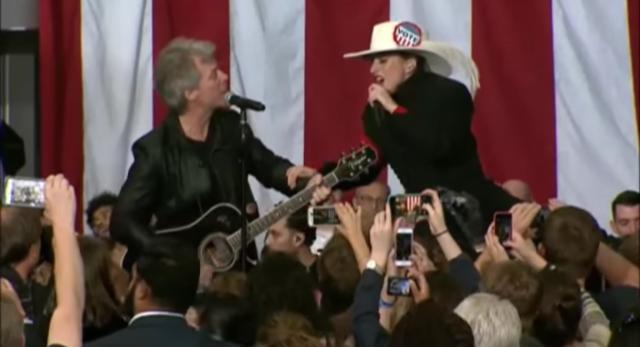 Watch Lady Gaga Duet With Jon Bon Jovi At Midnight Rally For Hillary Clinton