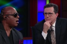 Stevie Wonder and Stephen Colbert