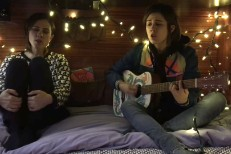 Tegan And Sara perform in bed for Bedstock