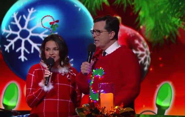 Norah Jones and Stephen Colbert